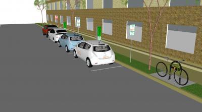 Sample image of charging hub in a mixed use neighborhood