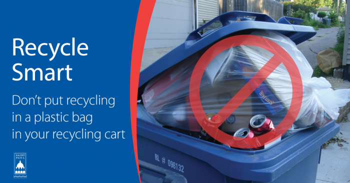Image with Text: Don't put recycling in a plastic bag in your recycling cart