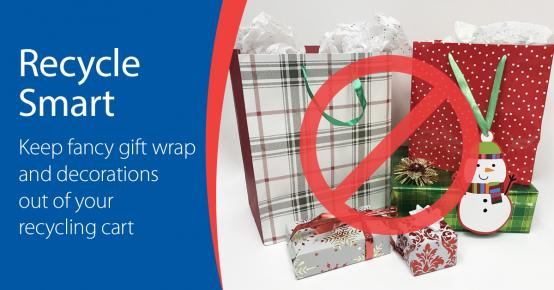 Picture of foil-wrapped presents and gift bags with ribbon handles. Text:: Recycle Smart. Keep fancy gift wrap, tissue paper, and decorations out of your recycling cart.