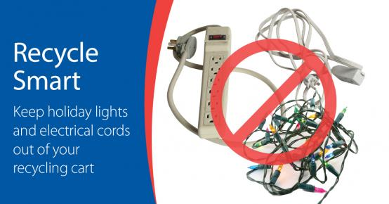 Recycle Smart - Keep Cords and Strings of Lights Out of Your Recycling Cart - Photo of various cords and string lights