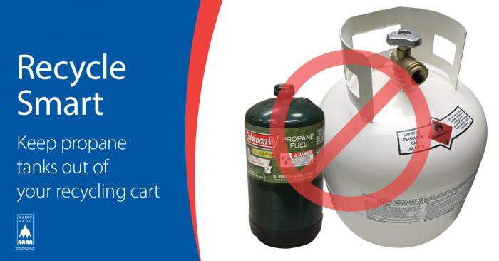 Image with Text: text says recycle smart, keep propane tanks out of your recycling cart, image depicts 2 metal propane tanks