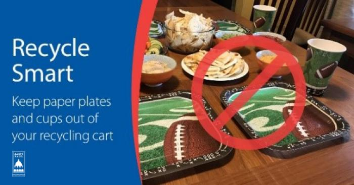 Image with Text: Keep paper plates and cups out of your recycling cart