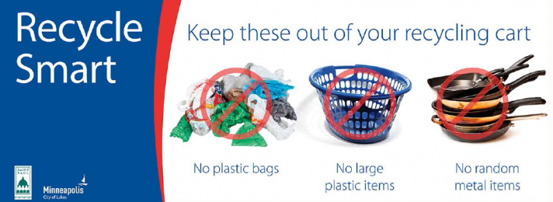 Recycle Smart - Keep plastic bags, large plastic items, and random metal items out of your cart.