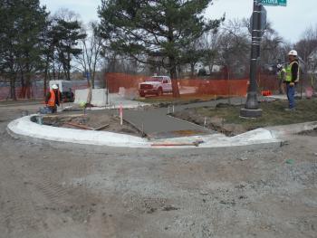 Completed sidewalk work near Como Lake