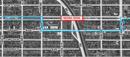Summit Avenue Bridge vehicle detour map
