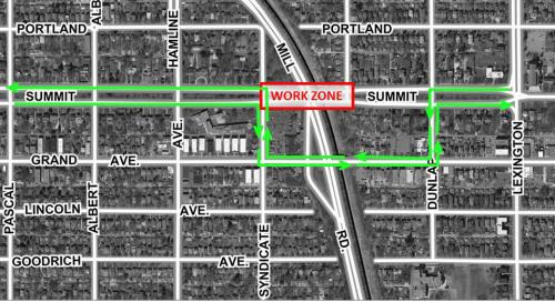 Summit Avenue Bridge bike detour map