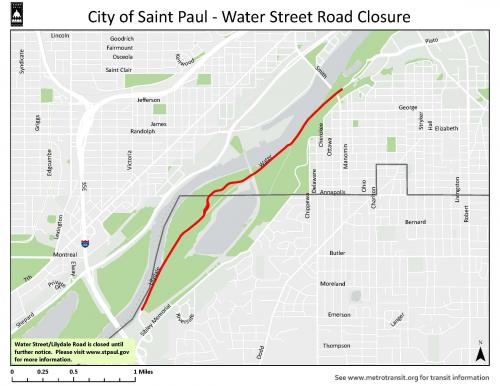Graphic map showing the street closure of Lilydale Road/Water Street from Hwy 13 to Plato