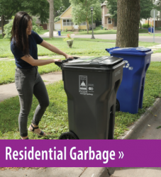 Woman setting cart out for collection, button link to residential garbage information.