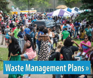 Text: Click for information about Waste Management Plans, Image: Large group of people at an event
