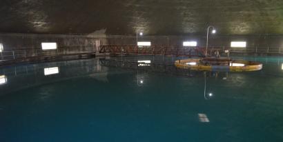 Water clarification holding tank at SPRWS.