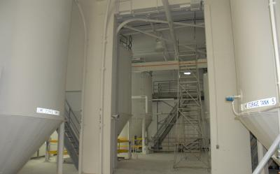 Photo of lime holding tanks in SPRWS water treatment building.