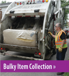 Photo of a mattress in a garbage truck, button link to Bulky Item collection.