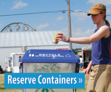 Image of a woman using recycling at an event, button link to reserve containers.