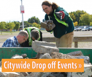 Text: Click for information about Drop off Events, Image: People loading concrete into a roll-off container