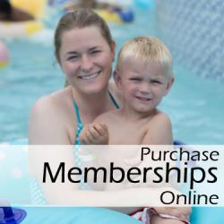 Mother and Child participate in the Aquatics program, with the overlay text 'Purchase Memberships Online'