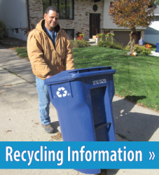 Image of a recycling cart, button link to Recycling Information.