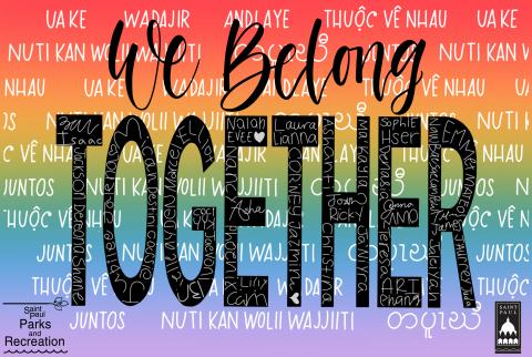 """We belong together"" message in Somali, English, Hmong, Karen, and Spanish on a rainbow background."