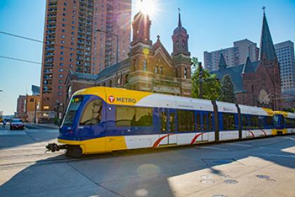 Lightrail car in Downtown Saint Paul